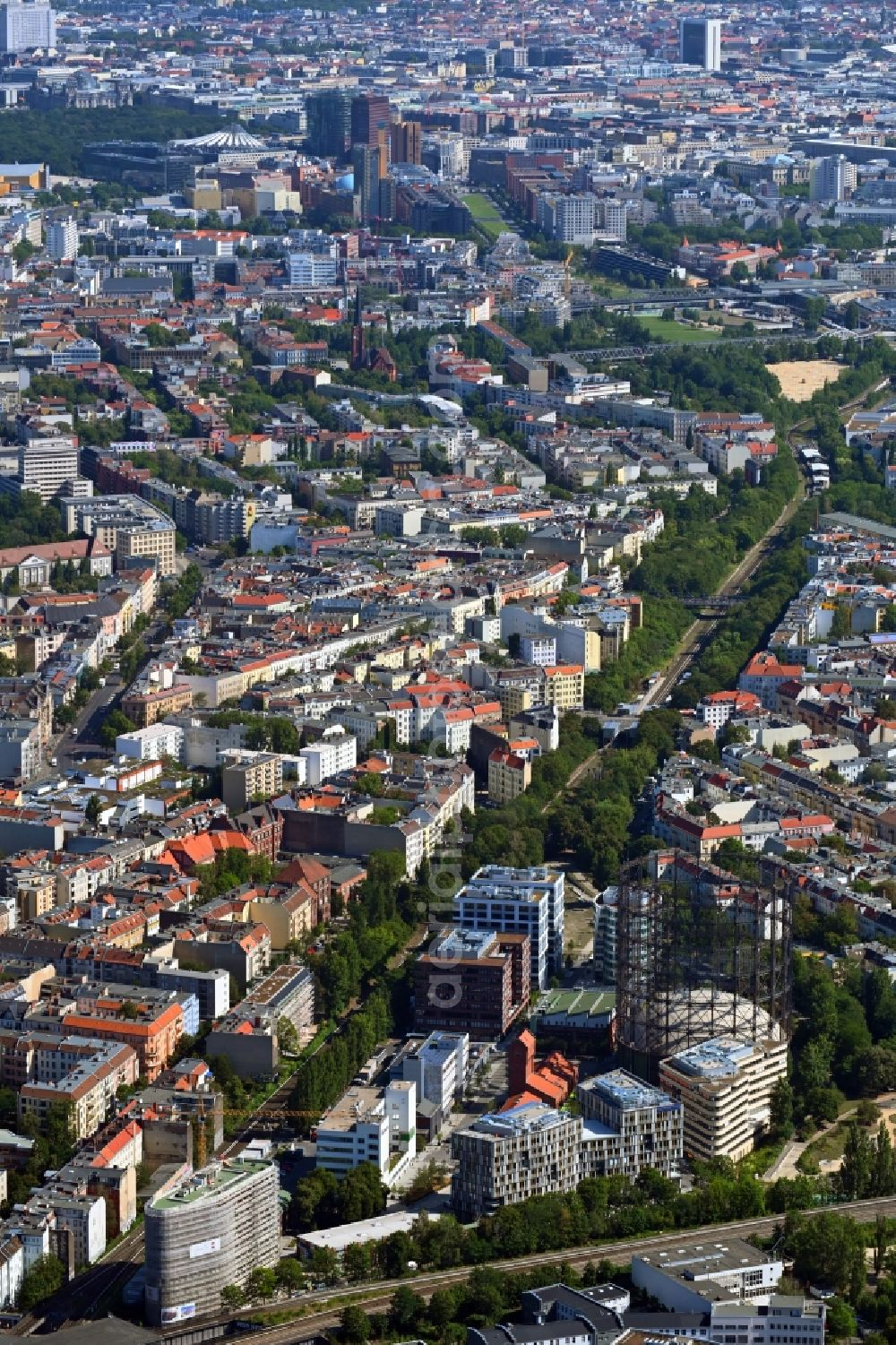 Aerial photograph Berlin - Office building on EUREF-Conpus on Torgauer Strasse in the district Schoeneberg in Berlin, Germany