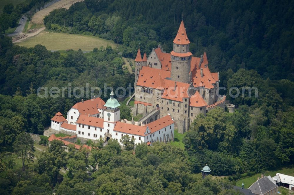 Aerial image Bouzov - Castle of in Bouzov in Olomoucky kraj, Czech Republic