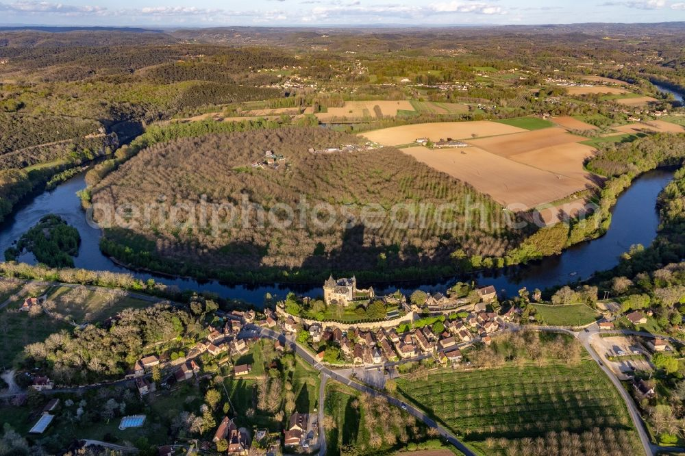 Aerial image Vitrac - Castle of Montfort above the Dordogne in Vitrac in Nouvelle-Aquitaine, France