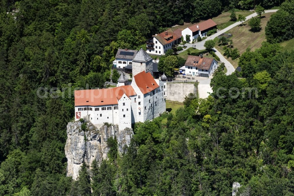 Aerial photograph Riedenburg - Castle of the fortress Burg Prunn in Riedenburg in the state Bavaria