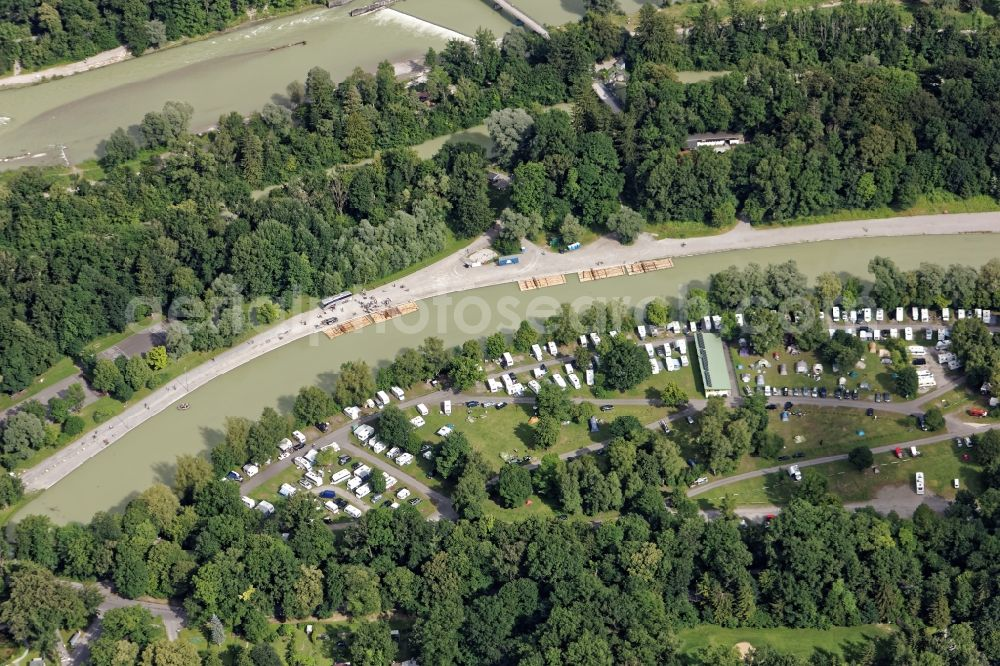 8fa875d123 Aerial image München - Camping with caravans and tents in Munich in the  state Bavaria