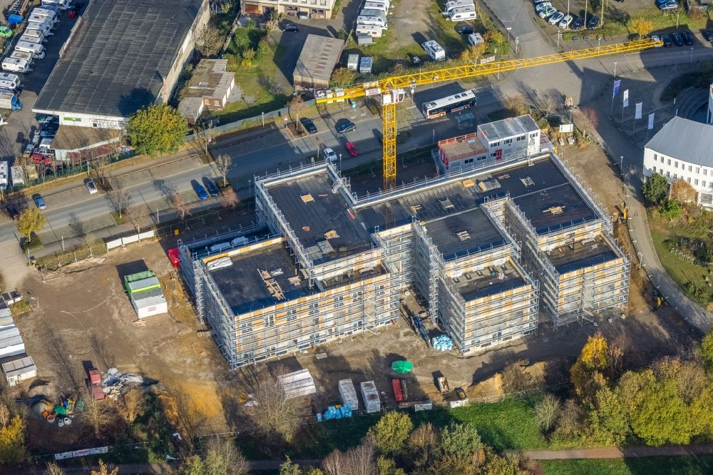 Aerial image Witten - Campus university area with new construction site for extension of Universitaet Witten-Herdecke on Alfred-Herrhausen-Strasse in Witten in the state North Rhine-Westphalia, Germany