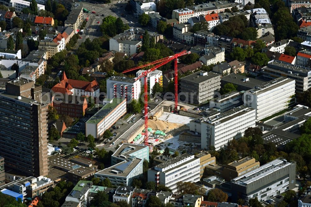 Aerial image Hamburg - Campus university area with new construction site MIN-Forum and Informatik-Neubau in the district Rotherbaum in Hamburg, Germany