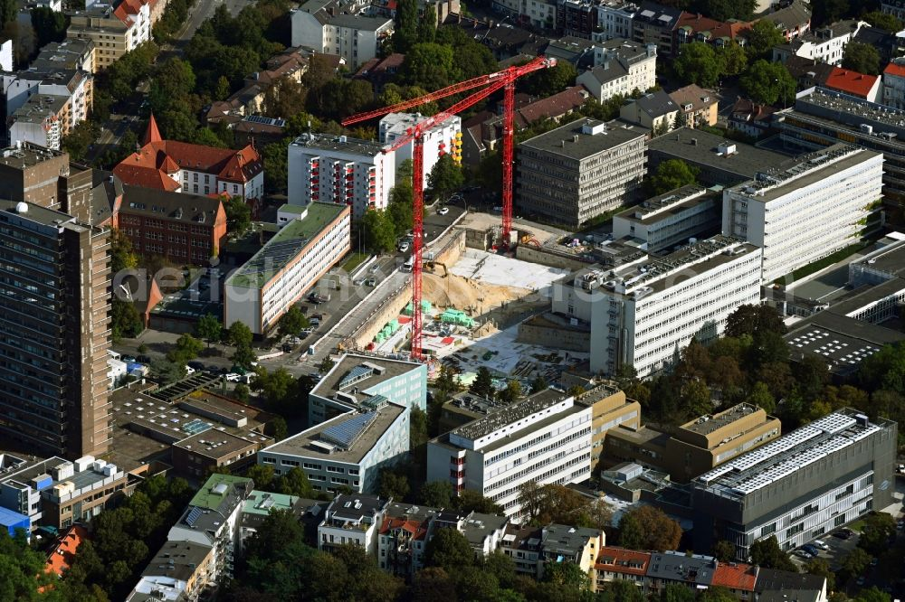 Aerial photograph Hamburg - Campus university area with new construction site MIN-Forum and Informatik-Neubau in the district Rotherbaum in Hamburg, Germany