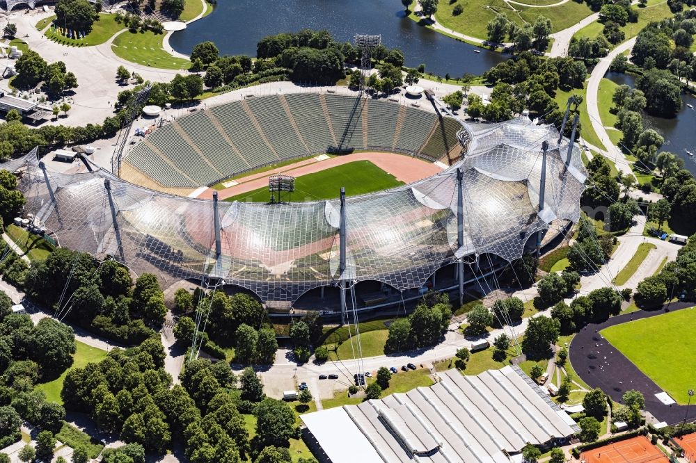 Aerial image München - Sports facility grounds of the Olypmic stadium in Munich in the state Bavaria, Germany