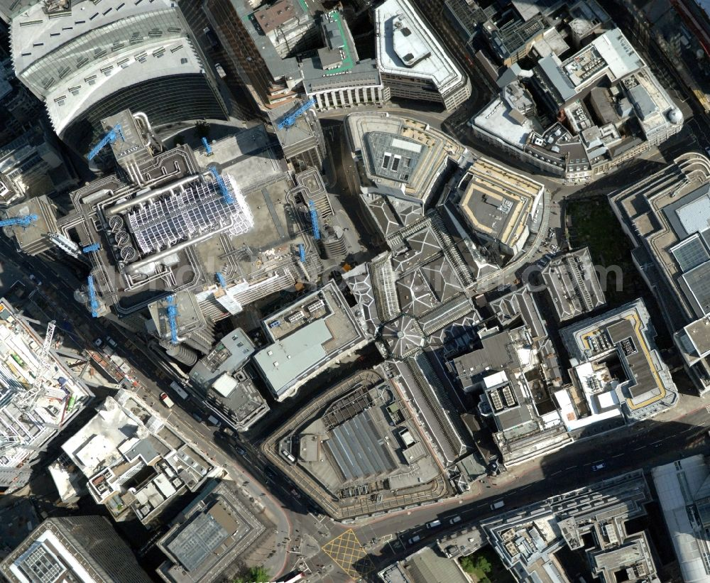 London from above - View of the roofs of the Leadenhall Market in the district City of London in the counter Greater London in the UK