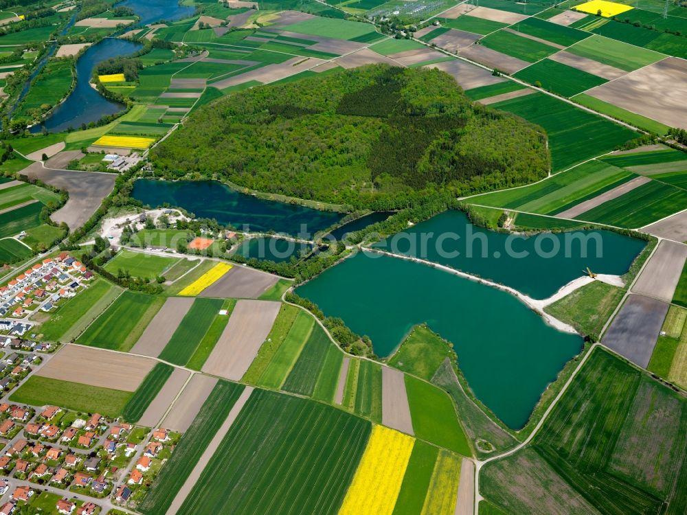 Aerial photograph Erbach an der Donau - The quarry ponds and