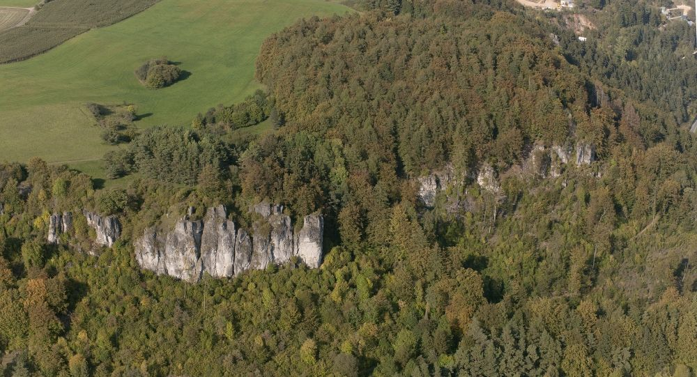 Aerial photograph Gerolstein - View of dolomite cliffs near Gerolstein in the state of Rhineland-Palatinate