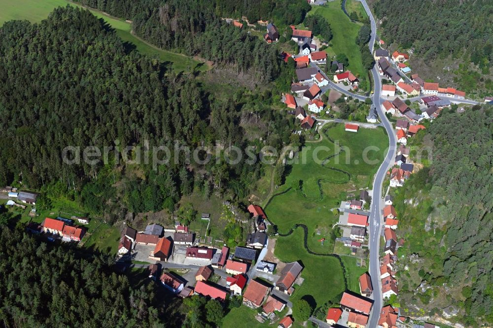 Treunitz from above - Village - view on the edge of forested areas in Treunitz in the state Bavaria, Germany