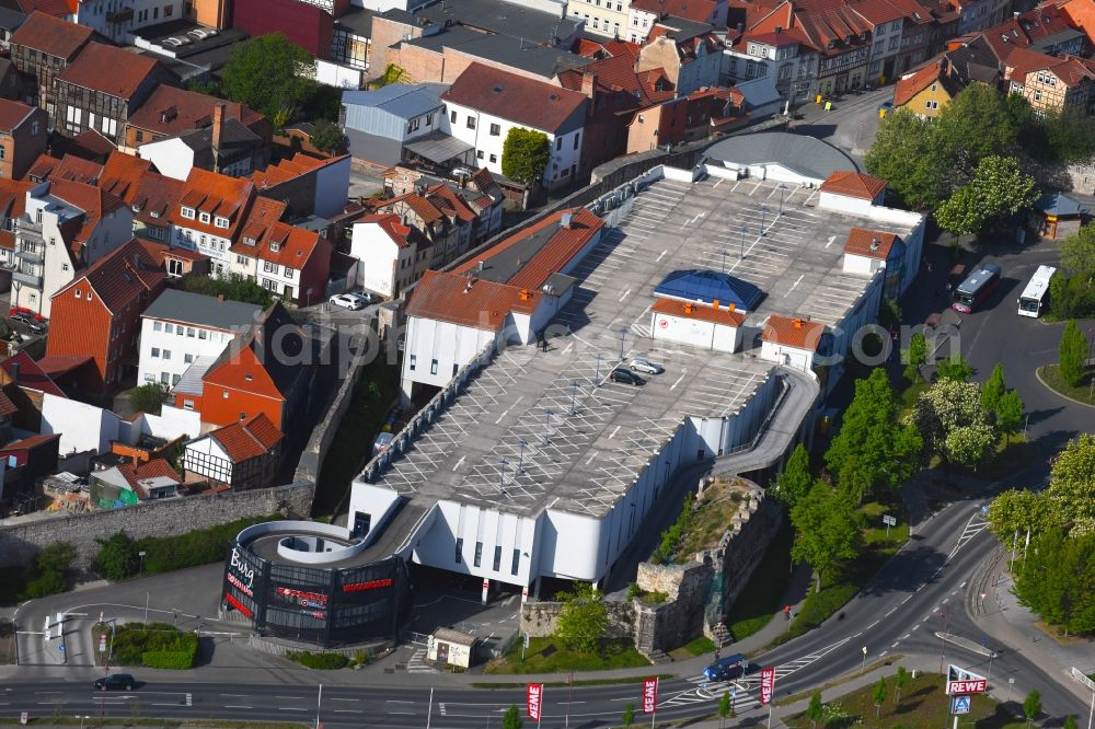 Aerial photograph Mühlhausen - Building of the shopping center Burggalerie Muehlhausen in Muehlhausen in the state Thuringia, Germany