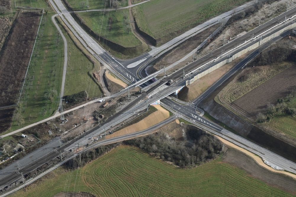 Aerial image Weil am Rhein - Railway bridge over the C bypass road of the northwest detour in the district Haltingen in Weil am Rhein in the state Baden-Wurttemberg, Germany