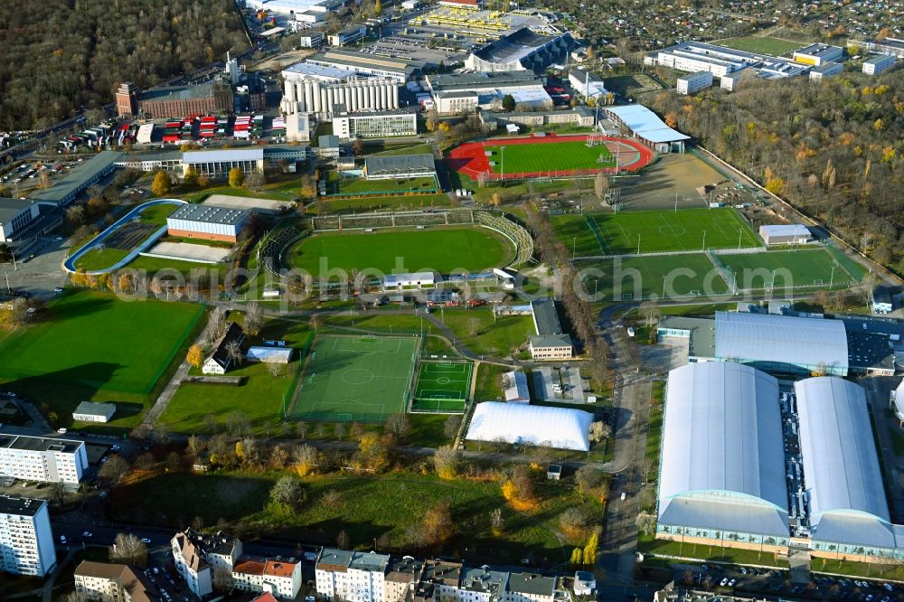 Berlin from above - Ensemble of sports grounds and Eisschnelllaufhalle in Sportforum Berlin Konrad-Wolf-Strasse in the district Hohenschoenhausen in Berlin, Germany