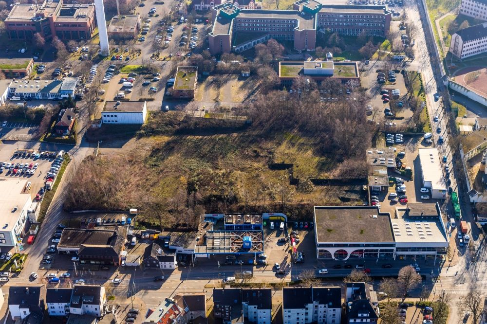 Bochum from the bird's eye view: Development area and building land fallow Karl-Lange-Strasse - Castroper Strasse in the district Innenstadt in Bochum in the state North Rhine-Westphalia, Germany
