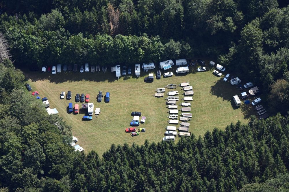Aerial image Albbruck - Paddock of the race event and international autocross race in the sandpit in the district Schachen in Albbruck in the state Baden-Wurttemberg, Germany.