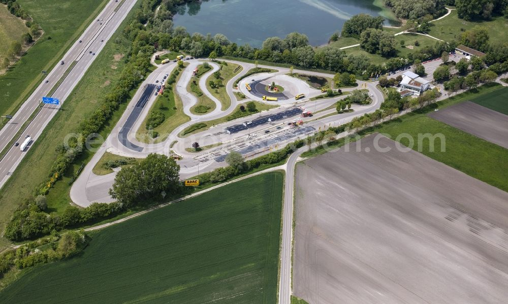 Augsburg from the bird's eye view: Driving Safety Training to improve road safety in motor vehicles ADAC Fahrsicherheitszentrum Suedbayern in the district Hammerschmiede in Augsburg in the state Bavaria, Germany