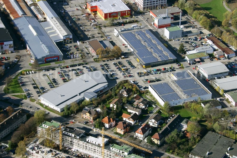 Rosenheim from above - Commercial area and company settlement West-Aicherpark on Georg-Aicher-Strasse in Rosenheim in the state Bavaria, Germany