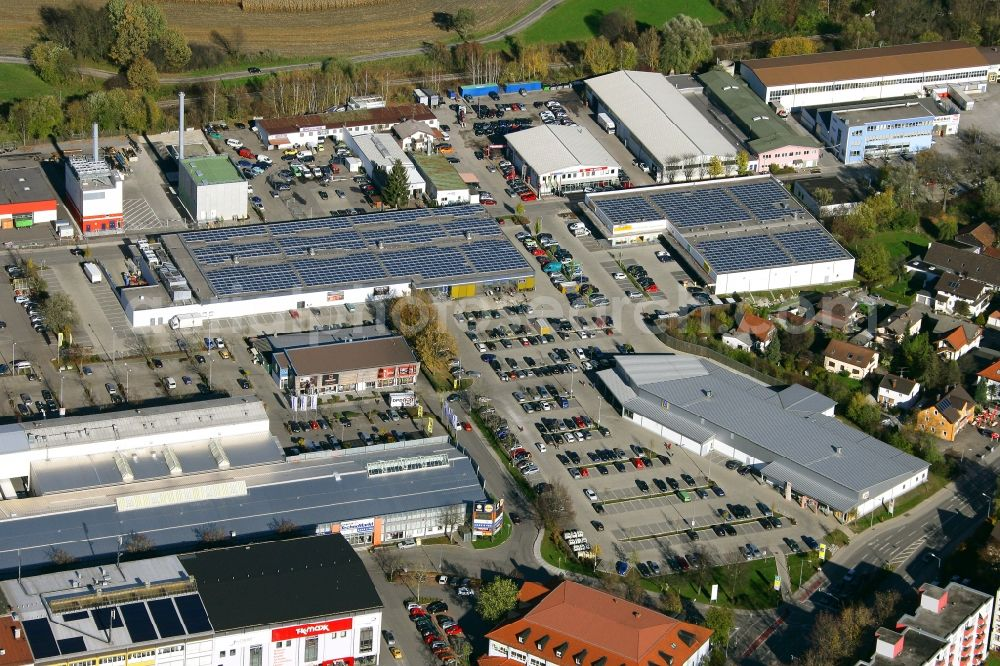 Aerial image Rosenheim - Commercial area and company settlement West-Aicherpark on Georg-Aicher-Strasse in Rosenheim in the state Bavaria, Germany
