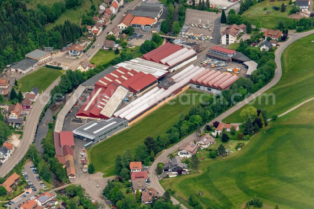 Mitteltal from the bird's eye view: Company grounds and facilities of Karl Mueller GmbH & Co.Kg Fahrzeugbau in Mitteltal in the state Baden-Wuerttemberg, Germany