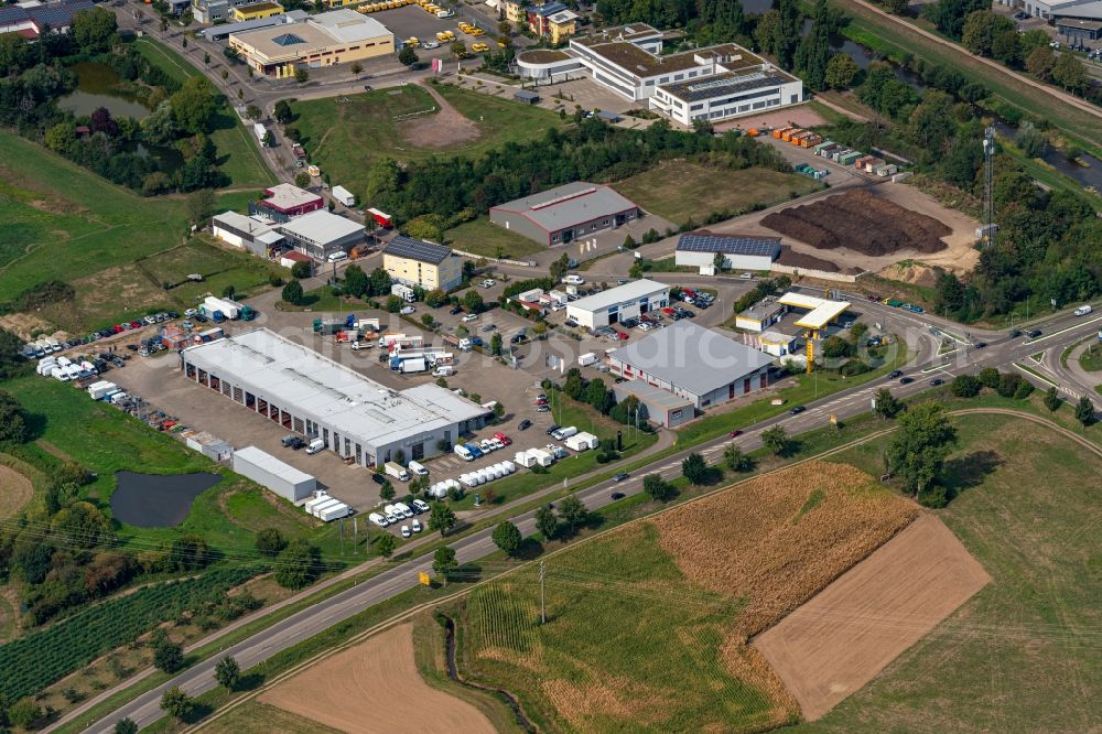 Aerial photograph Emmendingen - Company grounds and facilities of Schmolck GmbH & Co. KG - Mercedes-Benz LKW and Hot Bike in Emmendingen in the state Baden-Wuerttemberg, Germany