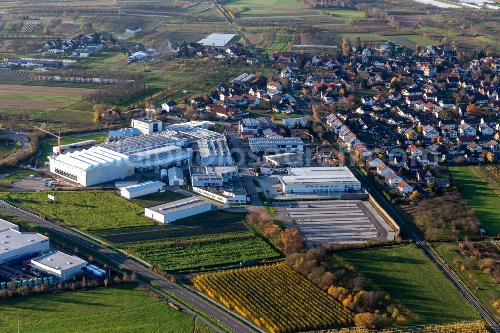 Aerial photograph Zusenhofen - Company grounds and facilities of Siebdruck Service Welle GmbH and Ernst Umformtechnik GmbH on B28 between Zusenhofen and Nussbach in the state Baden-Wurttemberg, Germany