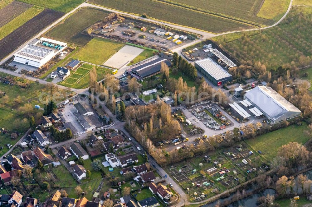 Meißenheim from above - Company grounds and facilities of Zuercher Bau GmbH in Meissenheim in the state Baden-Wurttemberg, Germany
