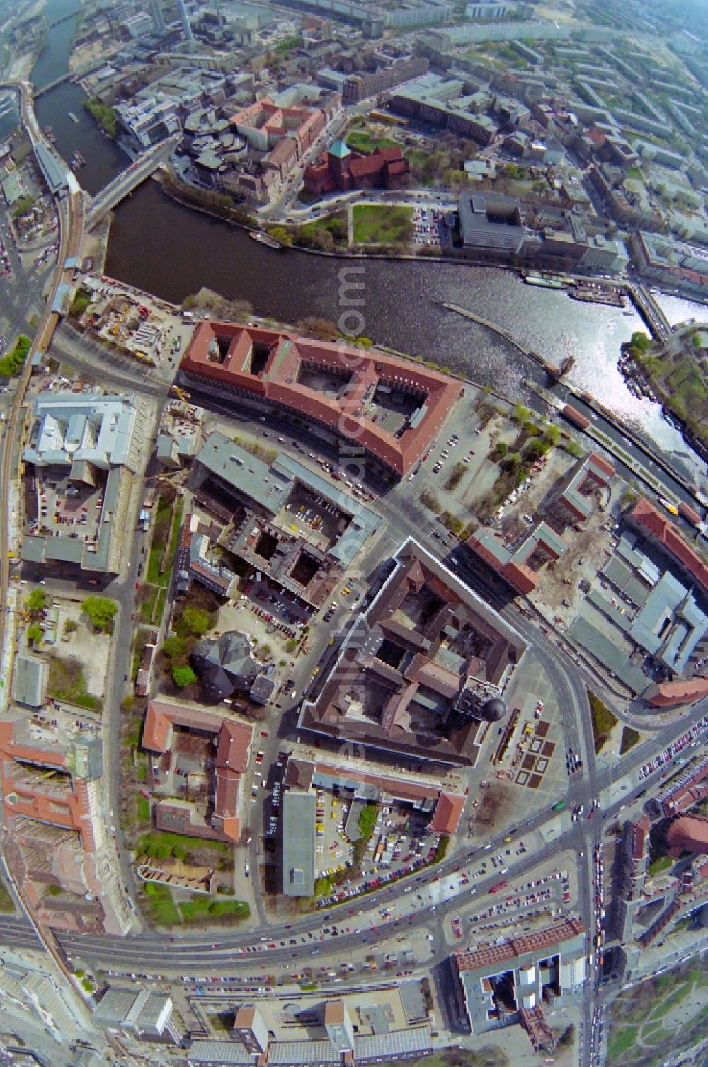 Aerial photograph Berlin - Fisheye perspective administration building Altes Stadthaus - Old Town Hall - on Molkenmarkt in the Mitte part of Berlin in Germany. The building with its distinct tower and dome is the seat of the senate of interior of Berlin.