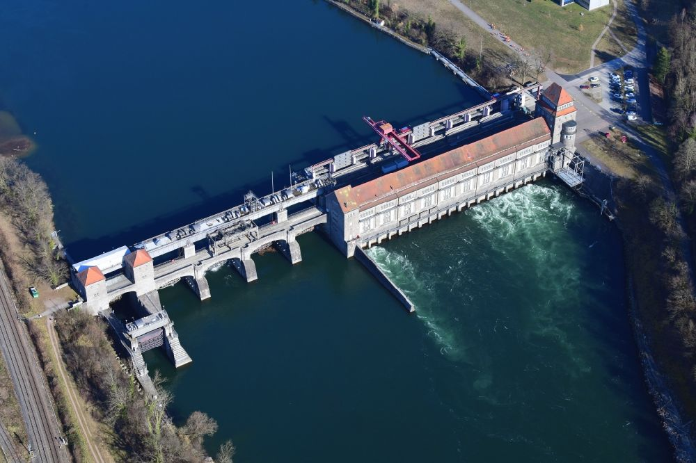 Aerial image Laufenburg - Dam of the hydroelectric power plant of Energiedienst Holding AG at the river Rhine in Laufenburg in the state Baden-Wurttemberg, Germany.