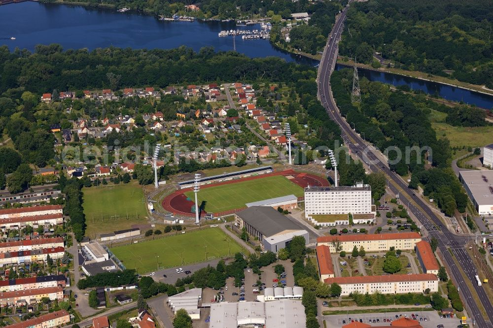 Aerial image Brandenburg an der Havel - Football stadium of the football club FC Stahl Brandenburg e.V. in Brandenburg an der Havel in the state Brandenburg, Germany