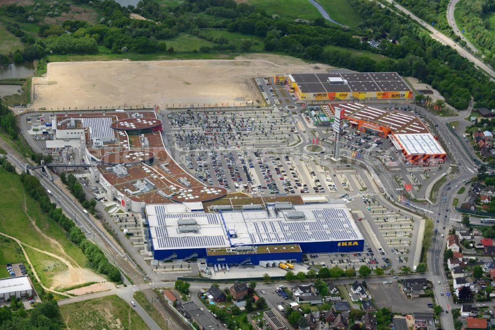 aerial image l beck building the shopping center ikea furniture store in daenischburg. Black Bedroom Furniture Sets. Home Design Ideas