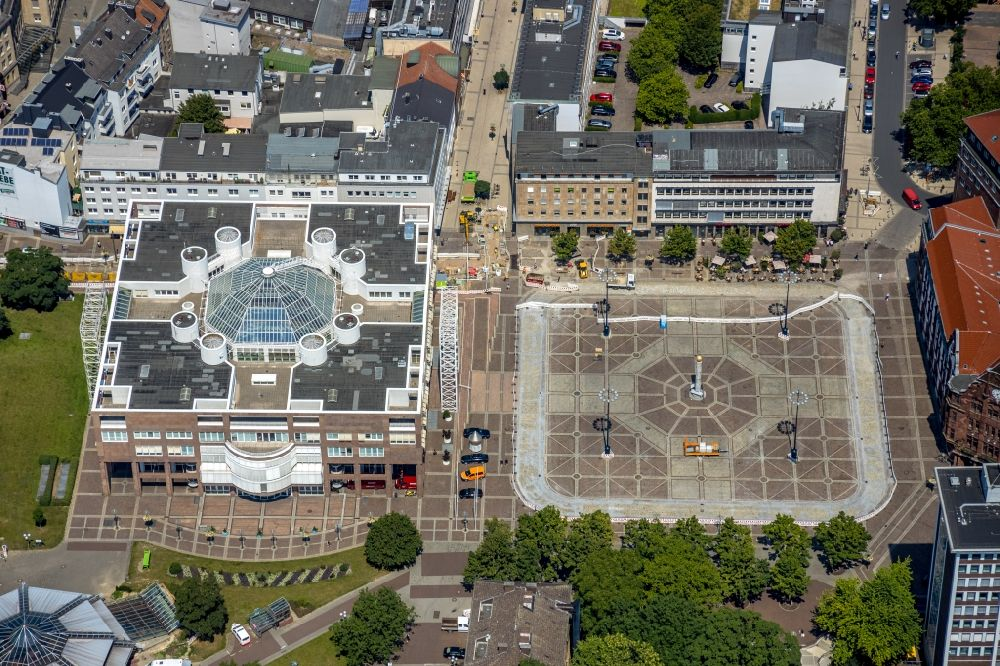 Dortmund from above - Town Hall building of the City Council at the market downtown in Dortmund in the state North Rhine-Westphalia, Germany