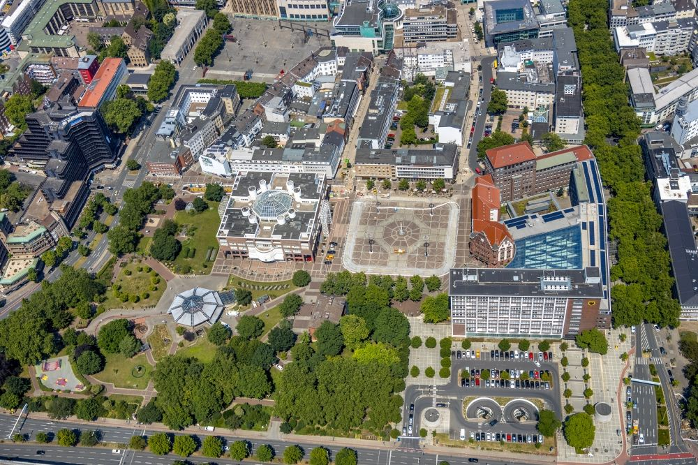 Dortmund from the bird's eye view: Town Hall building of the City Council at the market downtown in Dortmund in the state North Rhine-Westphalia, Germany