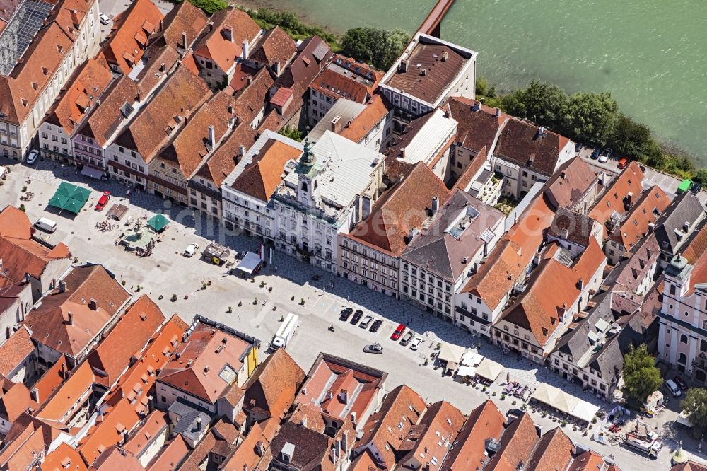 Aerial image Steyr - Town Hall building of the City Council at the market downtown in Steyr in Oberoesterreich, Austria.