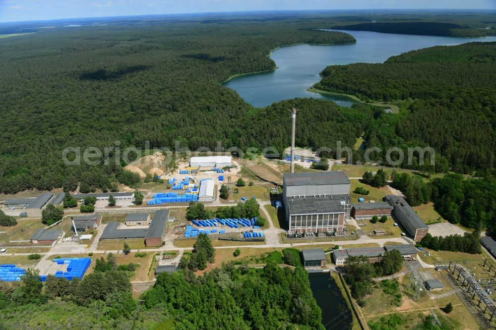 Rheinsberg from the bird's eye view: Building the decommissioned reactor units and systems of the NPP - NPP nuclear power plant in Rheinsberg in the state Brandenburg, Germany