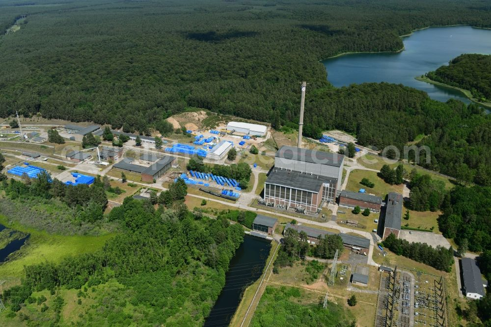 Rheinsberg from above - Building the decommissioned reactor units and systems of the NPP - NPP nuclear power plant in Rheinsberg in the state Brandenburg, Germany