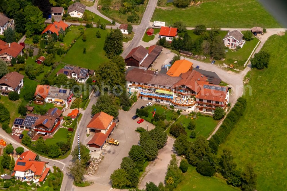 Paterzell from the bird's eye view: Complex of the hotel building Zum Eibenwald Peissenberger Strasse in Paterzell in the state Bavaria, Germany