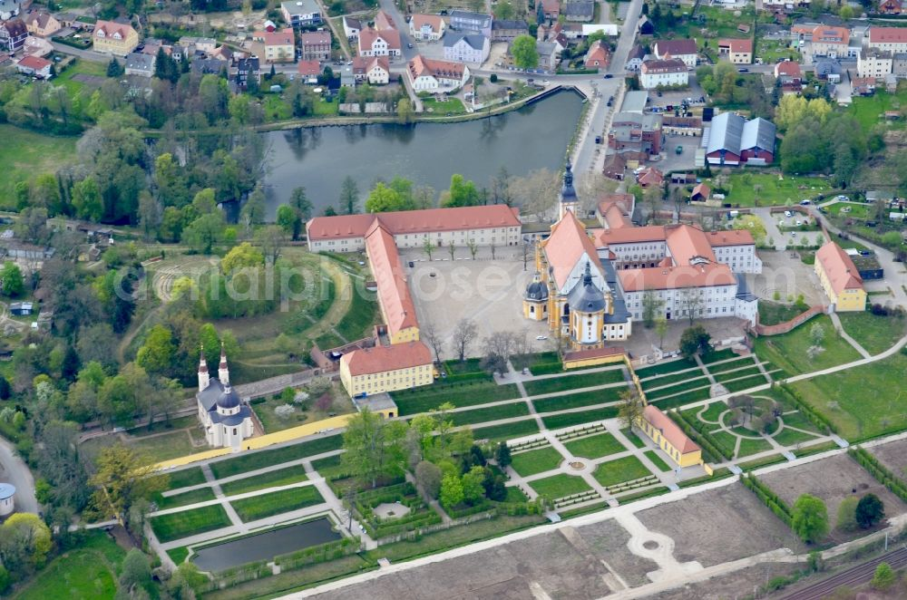 Aerial photograph Neuzelle - Complex of buildings of the monastery Neuzelle in Neuzelle in the state Brandenburg, Germany