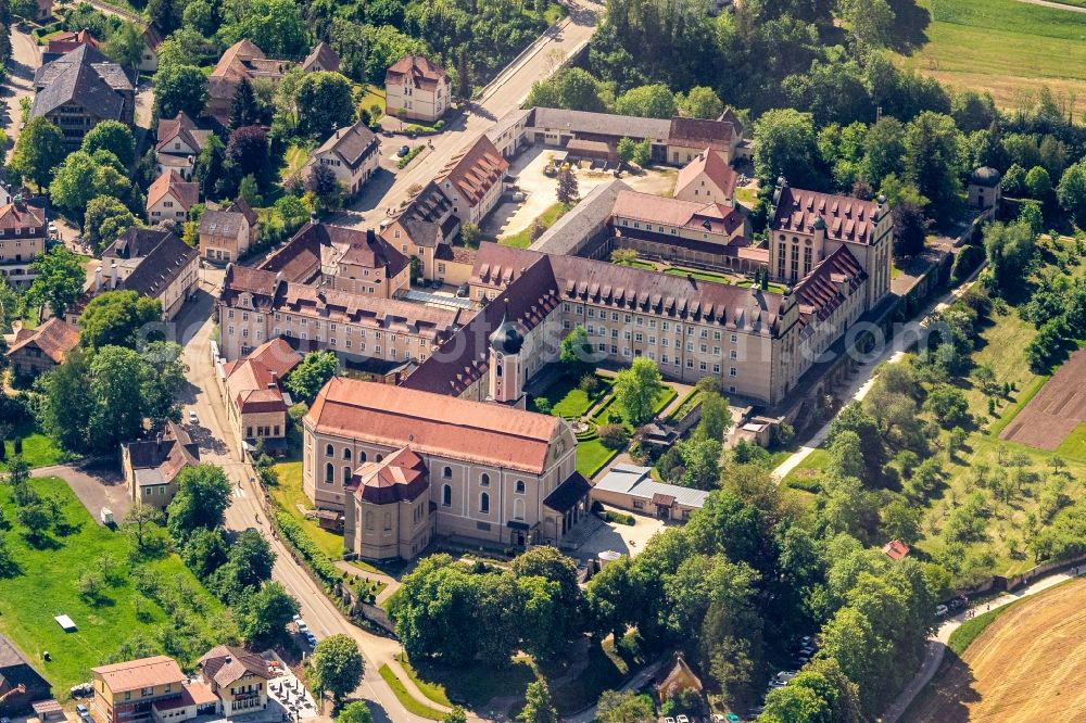 Beuron from above - Complex of buildings of the monastery Benediktiner Erzabtei St. Martin on Abteistrasse in the district Langenbrunn in Beuron in the state Baden-Wuerttemberg