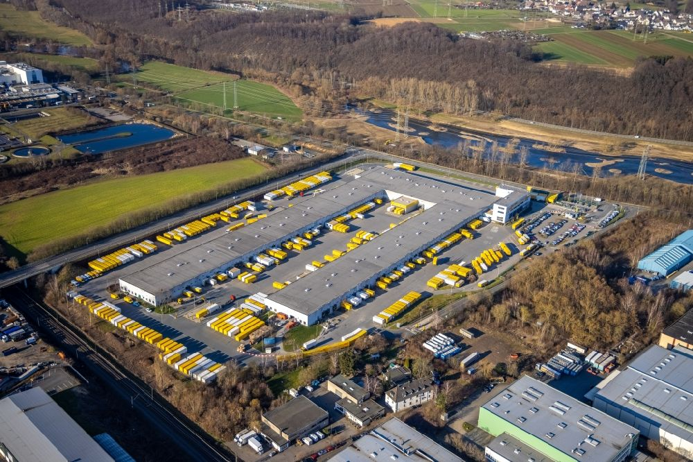 Aerial image Hagen - Building complex and distribution center on the site DHL International GmbH - DHL Group in Hagen in the state North Rhine-Westphalia, Germany