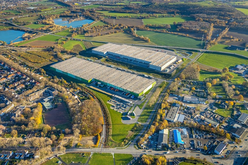 Aerial image Kamp-Lintfort - Building complex and distribution center on the site on Norddeutschlandstrasse in the district Niersenbruch in Kamp-Lintfort in the state North Rhine-Westphalia, Germany