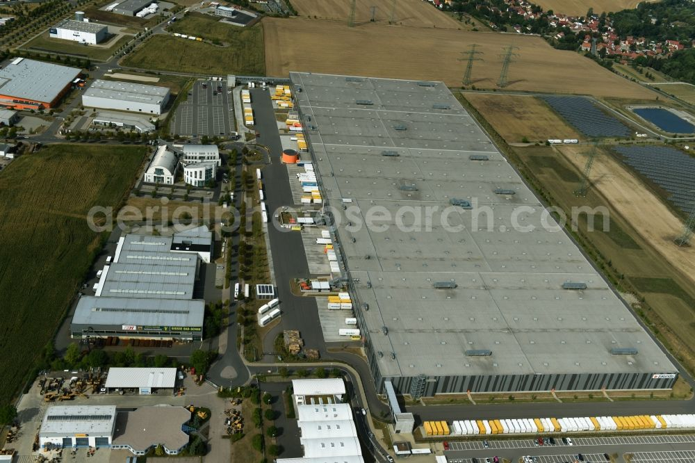 a5b75c9b502 Erfurt from the bird's eye view: Building complex and distribution center  on the site of Zalando ...