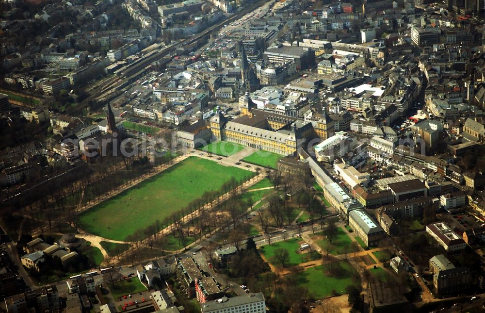 Bonn from above - Building complex in the park of the castle in Bonn in the state North Rhine-Westphalia, Germany