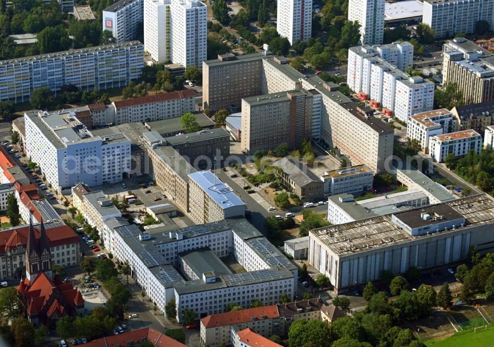 Aerial photograph Berlin - Building complex of the Stasi memorial of the former MfS Ministry for State Security of the GDR in the district Lichtenberg in Berlin, Germany