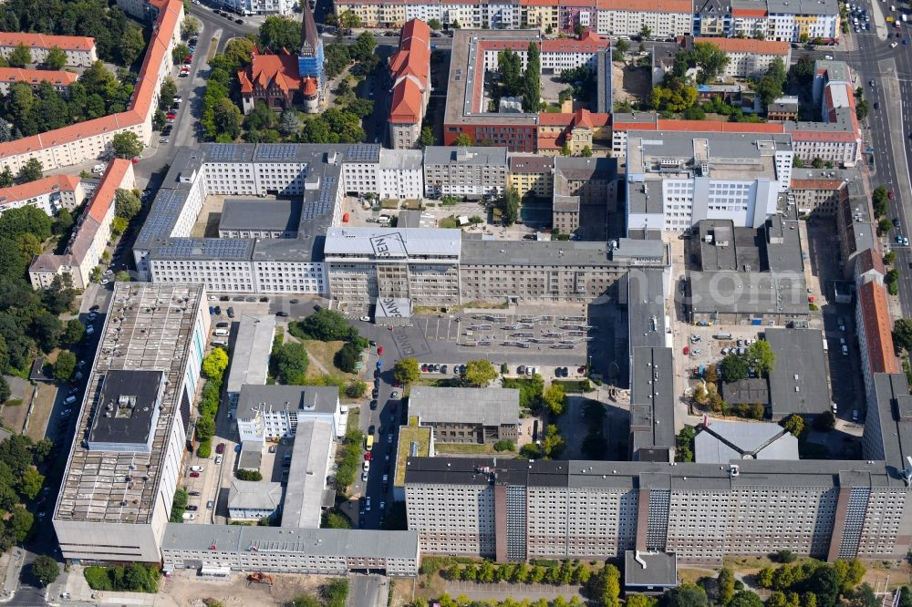 Aerial photograph Berlin - Building complex of the Memorial of the former Stasi Ministry for State Security of the GDR in the Ruschestrasse in Berlin Lichtenberg