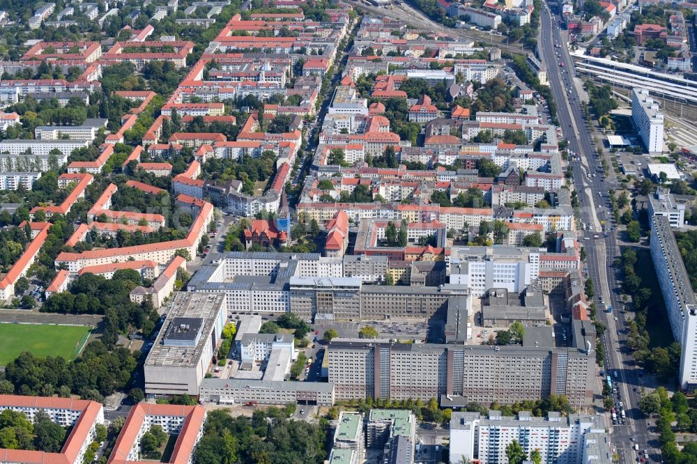 Aerial photograph Berlin - Building complex of the Memorial of the former Stasi Ministry for State Security of the GDR in the Ruschestrasse in Berlin Lichtenberg.