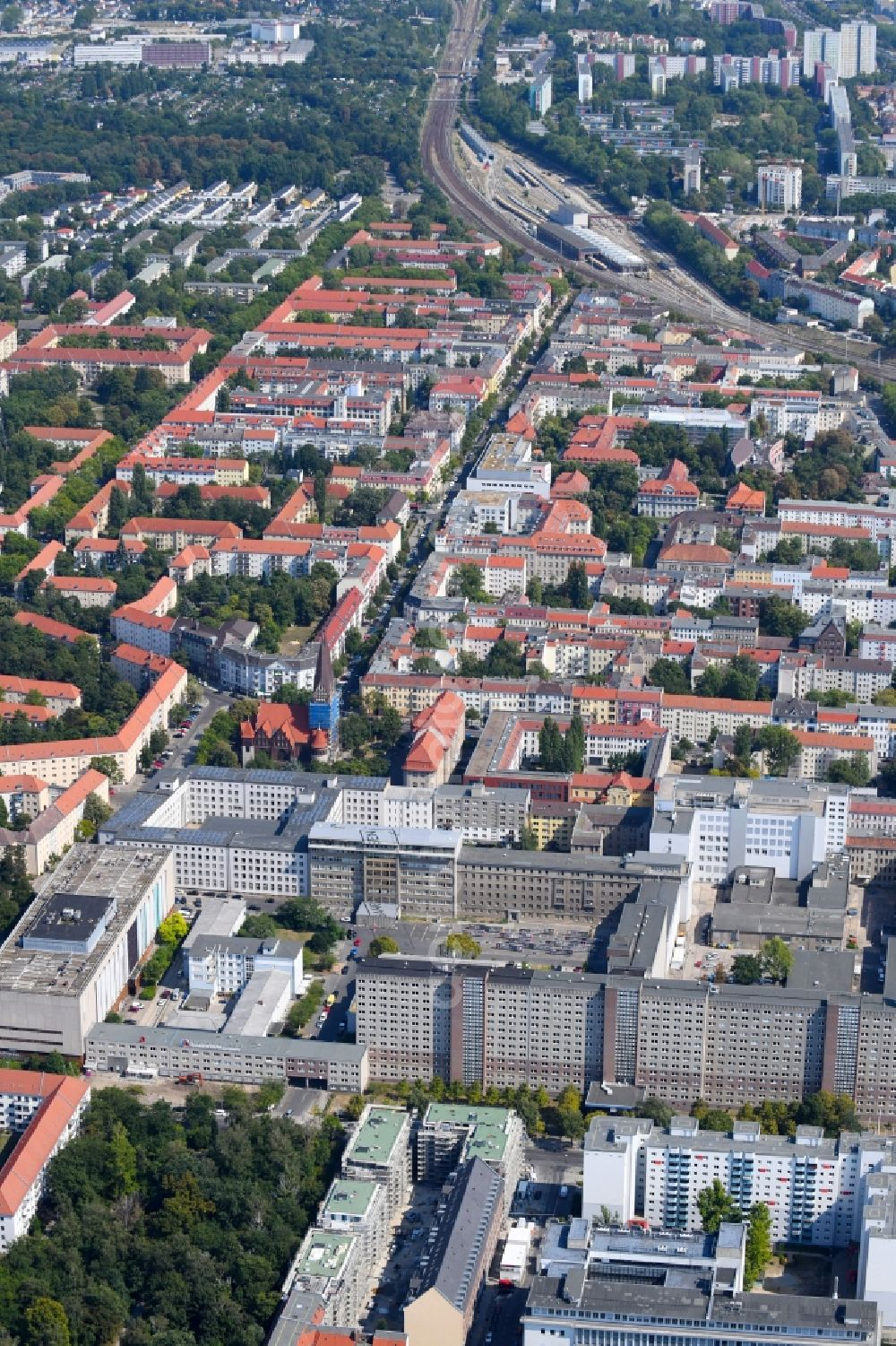 Aerial image Berlin - Building complex of the Memorial of the former Stasi Ministry for State Security of the GDR in the Ruschestrasse in Berlin Lichtenberg
