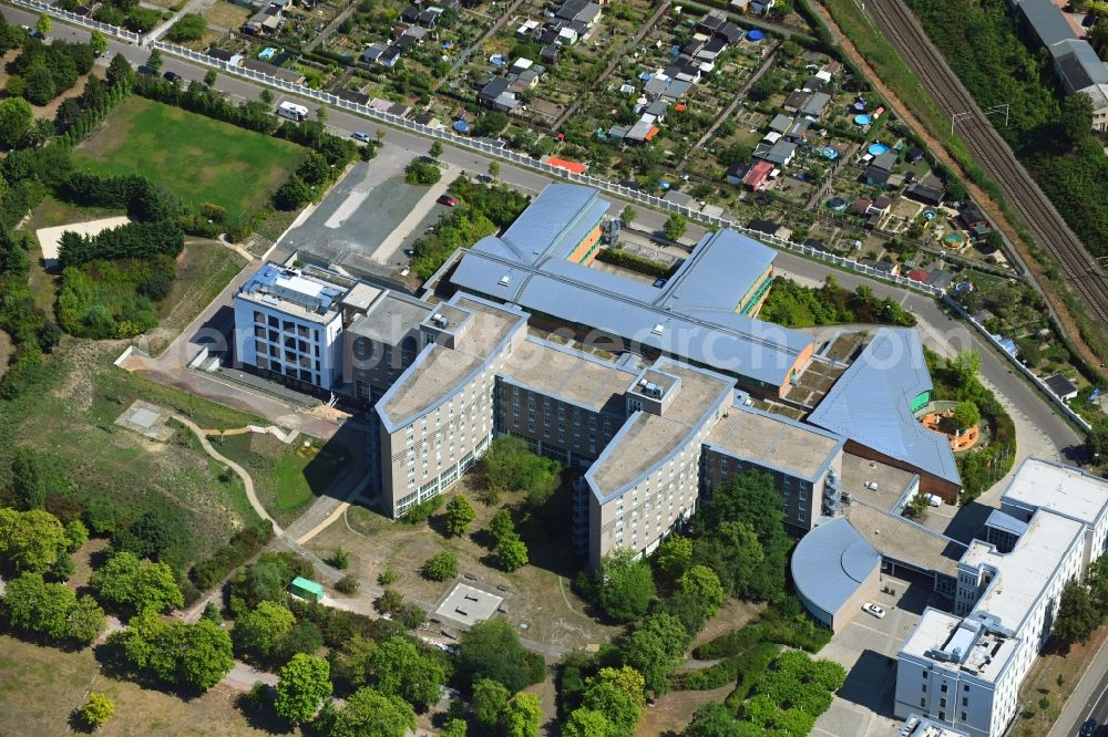 Leipzig from the bird's eye view: Building complex of the education and training center of Berufsfoerderungswerk Leipzig along the Georg-Schumann-Strasse in Leipzig in the state Saxony, Germany