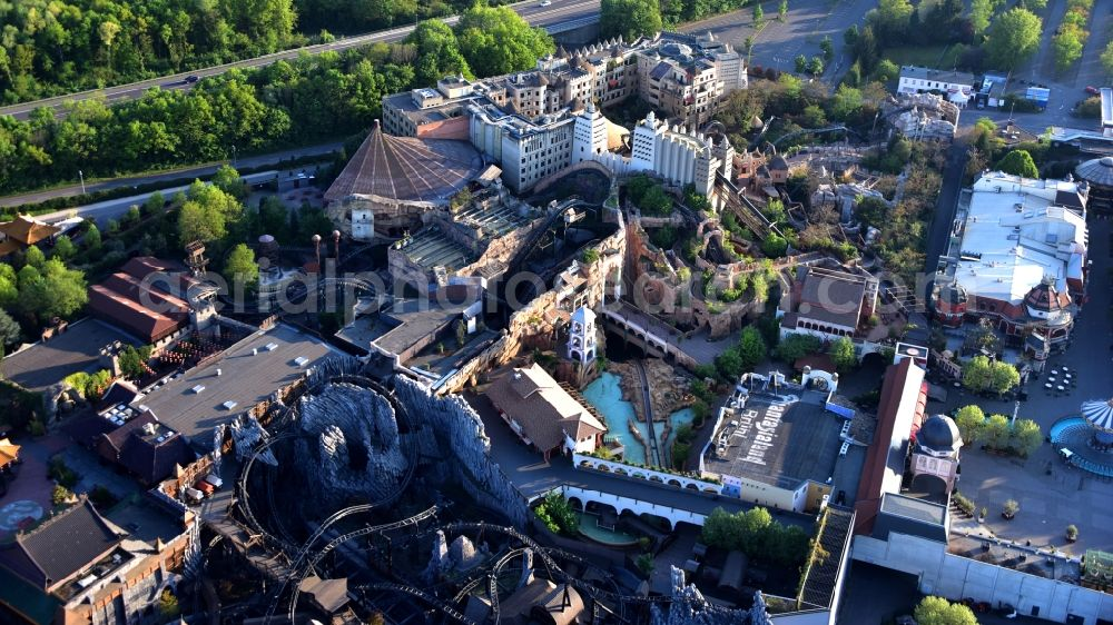 Brühl from above - Grounds of the Phantasialand theme park in Bruehl in the Rhineland in the state of North Rhine-Westphalia