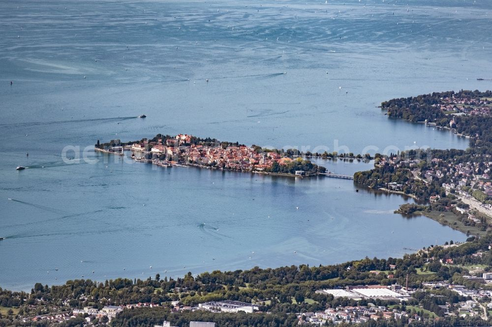 Aerial image Lindau (Bodensee) - City area with outside districts and inner city area in Lindau (Bodensee) in the state Bavaria, Germany