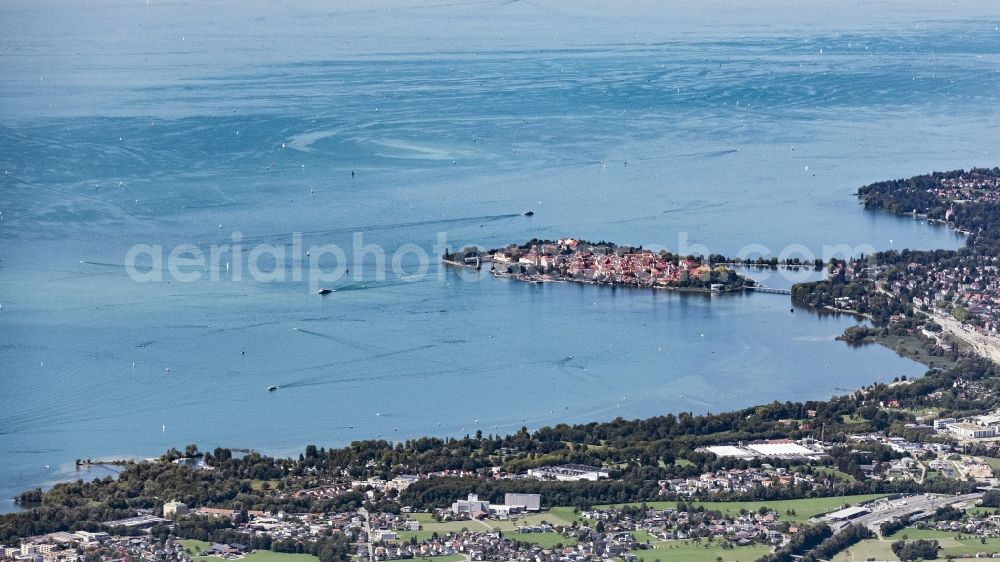 Aerial photograph Lindau (Bodensee) - City area with outside districts and inner city area in Lindau (Bodensee) in the state Bavaria, Germany