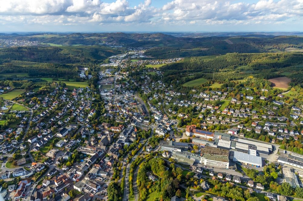 Aerial image Sundern (Sauerland) - City area with outside districts and inner city area in Sundern (Sauerland) in the state North Rhine-Westphalia, Germany.